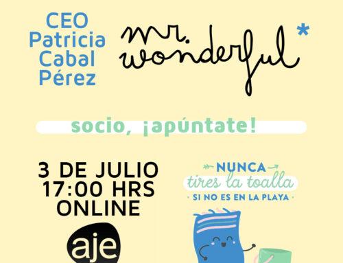 AJE Segovia pone el broche de oro a su primera etapa vir- tual mediante un encuentro online con Patricia Cabal, CEO de Mr. Wonderful